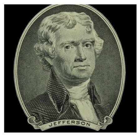 thomas: Thomas Jefferson image from two dollar bill Stock Photo