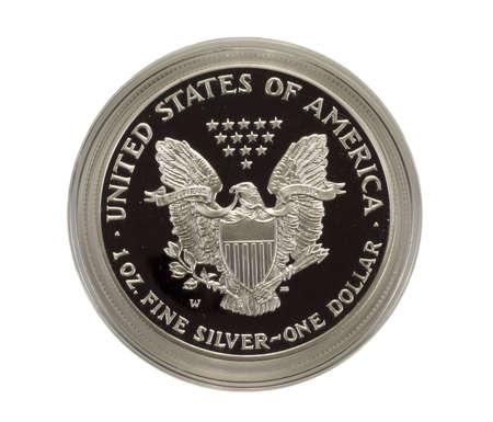 Closeup of Silver Eagle coin Banco de Imagens