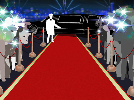 Red carpet, photographers, driver and a luxury car 2 photo