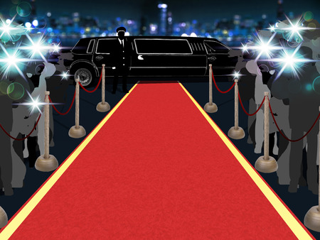 Point of view of a vip walking on the red carpet