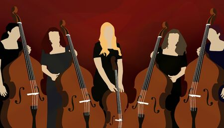 cellos: Illustration of five female musicians playing cellos on red background.