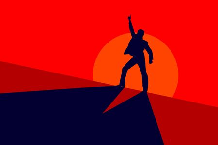 50s: Silhouette of a 50s dancer on a red background Stock Photo