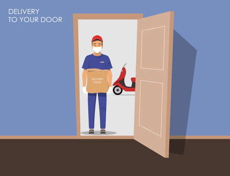 Delivery guy wearing a mask and gloves, handing box on doorway with a motorcycle in the background. Vector illustration.