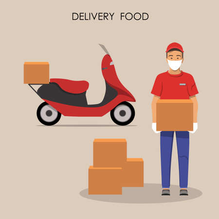 Online food delivery concept. Food order in the internet. Courier with food on motorbike. Person in uniform with mask and gloves on motorcycle. Isolated flat vector illustration