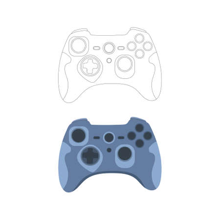 Gamepad, controller, input device.Gaming controller line and color drawing. Flat style, colorful, vector illustration. Çizim