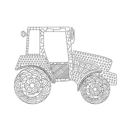 Tractor icon. Simple line element Tractor symbol for templates, web design and infographics. Coloring book for adults and children. Vector on white background. Ilustração