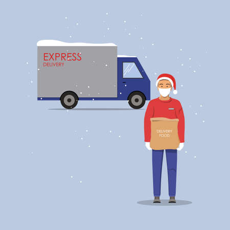 Delivery guy wearing a mask and gloves, handing food package on doorway. Full length man with delivery machine in the background. Winter vector illustration.