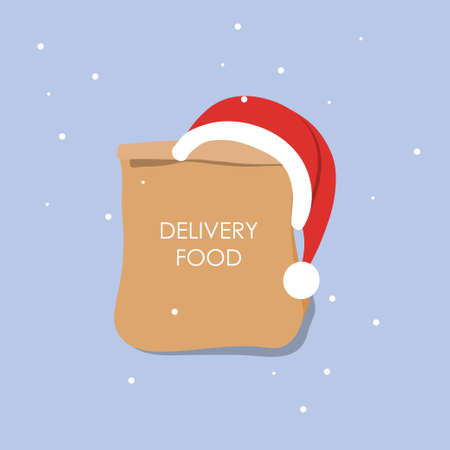 Craft paper bag for takeaway isolated. Packaging template mock up. Delivery service winter concept. Advertising area. New year. Christmas