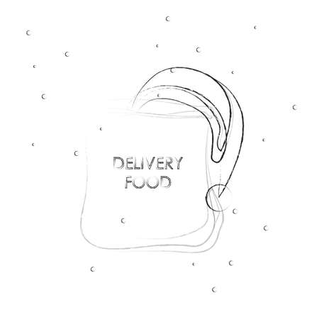 Sketch craft paper bag for takeaway isolated. Packaging template mock up. Delivery service winter concept. Advertising area. New year. Christmas