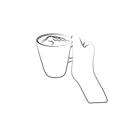 Whipped milk for homemade coffee. Linear icon for packaging. Foam electric mixer. Contour vector illustration, white background