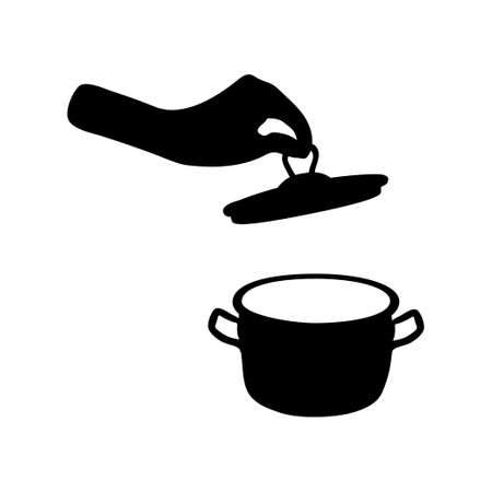 Pan icon. Cookware. Hand holding a lid. Big utensil with lid for boiling. Flat Kitchen element and soup preparation. Stock vector illustration isolated on white background