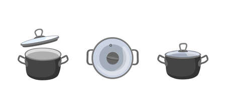 Pan icons set. Gray steel cookware. Big utensil with lid for boiling. Flat Kitchen element and soup preparation. Cartoon vector illustration isolated on white background