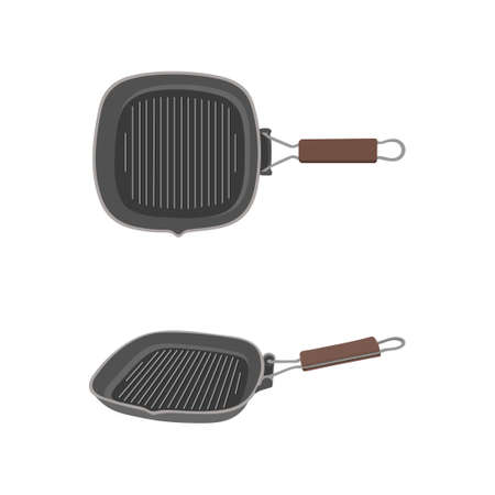 Grill pan isolated on white background.For cooking barbecue. Kitchen utensils. Picnic cook tools for frying food on BBQ picnic paty. Square iron tableware for fry meal.Stock vector illustration