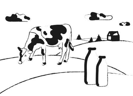 Milk farm. Cows graze in the meadow. Rural landscape, village. Milk jars with grass. Stock vector illustration. Sketch style.