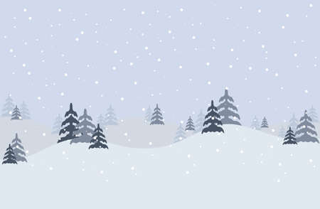 Winter Landscape Background with fir-trees and mountain. Vector stock illustration in flat design for Invitation, web banner, greetings card, social media and other winter related occasion