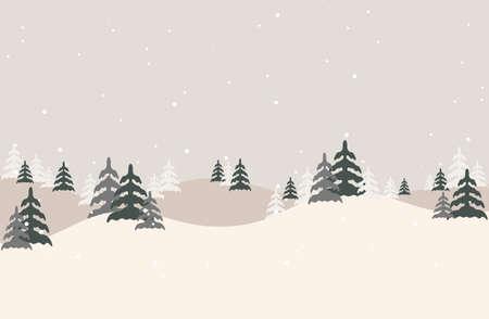 Vector illustration of a Christmas winter landscape postcard.Retro color of winter landscape with snow .Minimal winter concept. Çizim