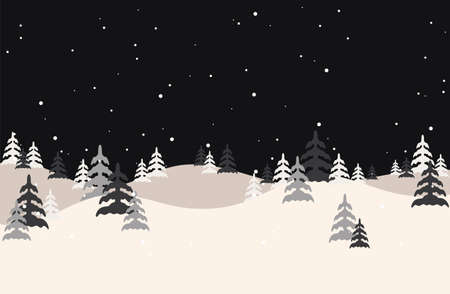 Winter landscape.Vector forest illustration. Christmas snow nature background. Snowfall and mountains on background.