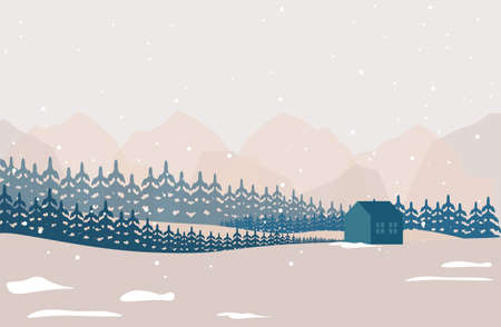 Merry Christmas and happy New Year. Vector illustration of a winter natural landscape with mountains, house, trees and Christmas trees. Background for banner, poster or card Çizim