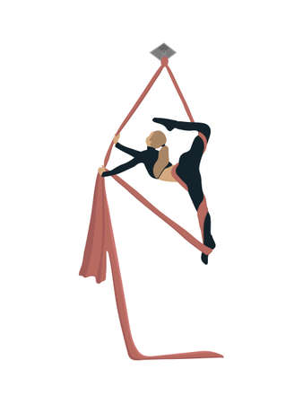 The girl is engaged in aerial acrobatics. Stock Vector Illustration for your business, scrapbook, magazine.