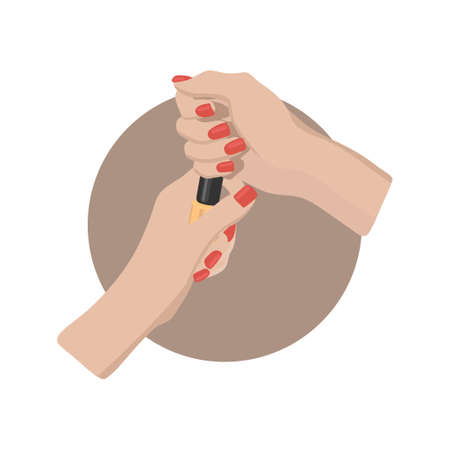 Female hand with painted nails, red manicure symbol. Sticker in a circle, for nail bar, beauty salon, manicurist sticker and social media. Stock vector ilustration