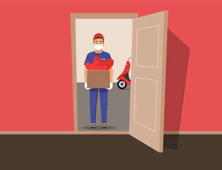 Courier delivering scooters gifts for International Women s Day or Valentine s Day. Delivery guy wearing a mask and gloves, handing box with hearts on doorway. Vector stock illustration. Vektoros illusztráció
