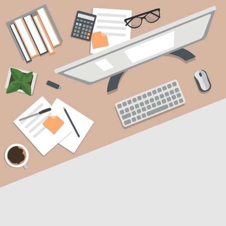 Freelancer's desktop, top view. The concept of working at home. Computer Desk with everything you need to work. Stock vector illustration Vector Illustration