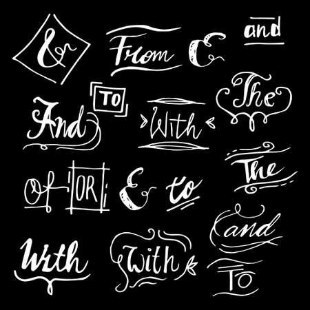 Doodle Handwritten catchwords and ampersands vector set. Modern handwritten calligraphy and lettering. isolated on black background Ilustração