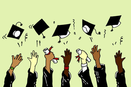doodle hands up Graduation Caps Thrown in the Air. vector illustration  イラスト・ベクター素材