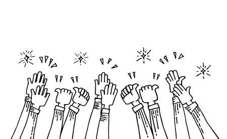 hand drawn of hands up, applause. thumbs up. Hands clapping. applause gestures. congratulation for business. cartoon style.  doodle vector illustration Illustration