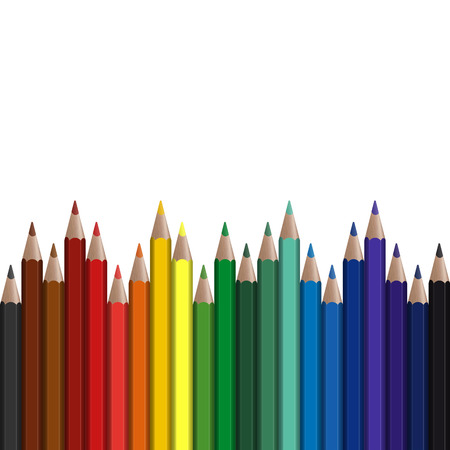 colored pencils in endless row Illustration