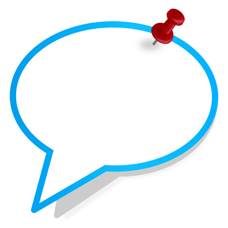 pinboard: speech bubble with pin needle