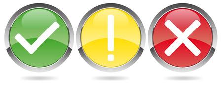 autoriser: trois boutons - crochet, croix, point d'exclamation Illustration