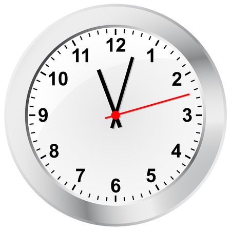 simple clock with silver frame Иллюстрация