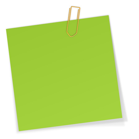 post it note: blank green sticky note with paper clip