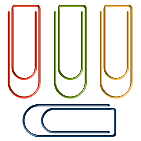 bookmarking: collection of four colored paperclips Illustration