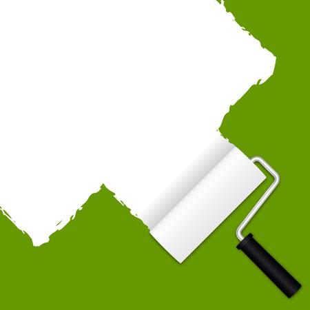 expanding: rollo de pintura blanca en verde Vectores