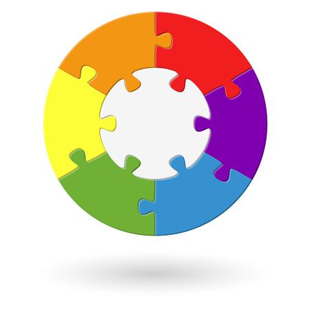 circulaire: processus puzzle - 6 options avec la base