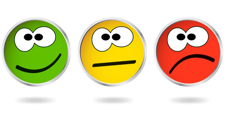 negative: good and bad - buttons with smilies Illustration