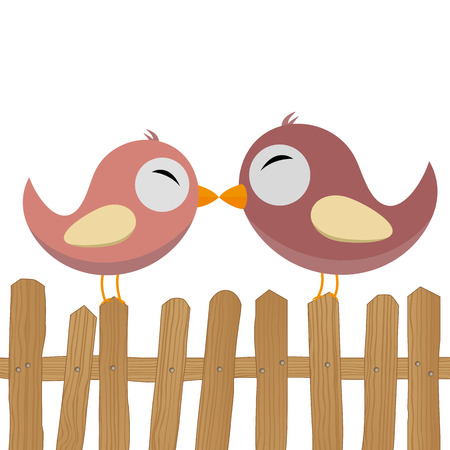 LOVE - two birds on the fence Vector