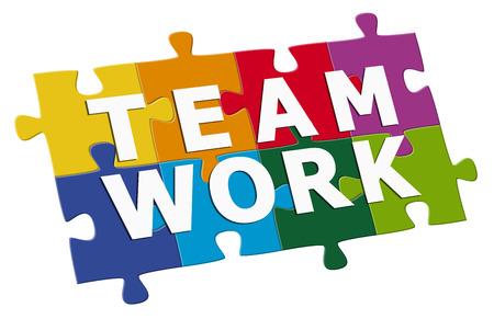 チームワークのパズル  イラスト・ベクター素材