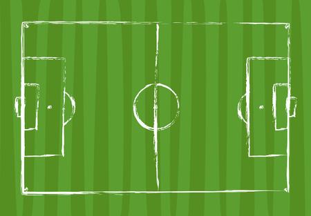 football field grunge drawing vector illustration