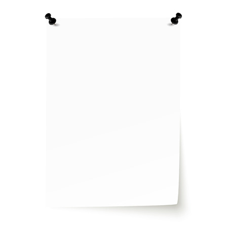 din: white empty sheet of paper with pin needles
