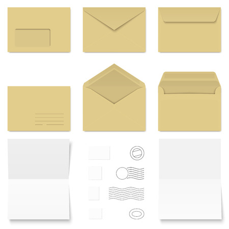collection of envelopes, stamps and sheets Vector