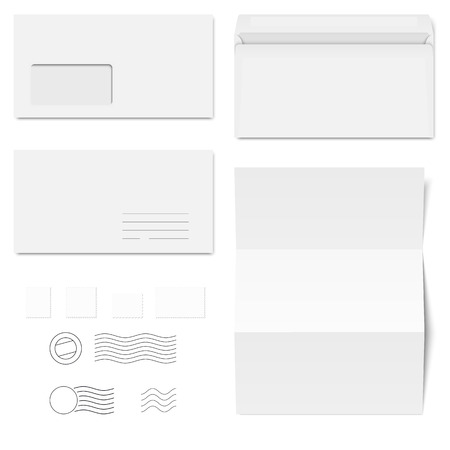 din: collection of white envelopes, stamps and sheets