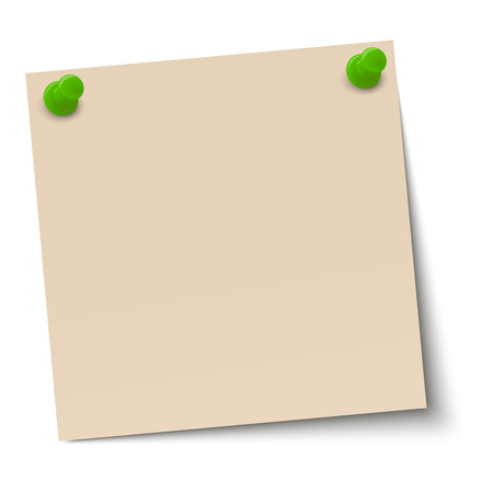 chit: brown sticky note with pin needles Illustration