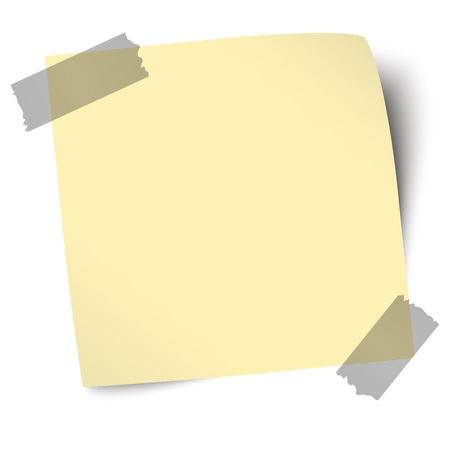 yellow sticky note with tape Vector