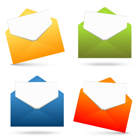 urgently: four colored envelopes opened with white paper