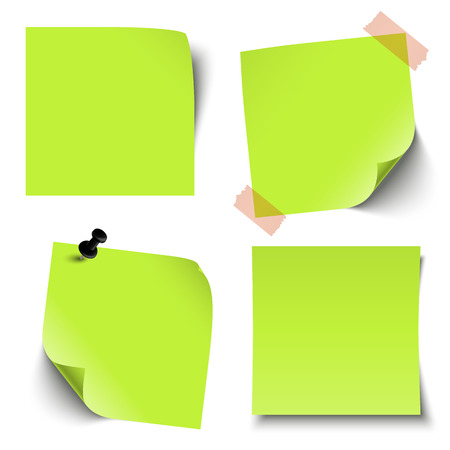 broadsheet: collection of sticky notes colored green