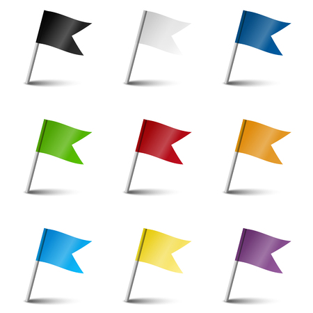 pinboard: set of 9 colored flags