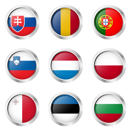 internationally: collection of buttons with country flags